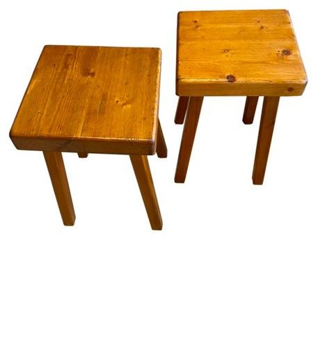 Charlotte Perriand : Pair of square stool  pine  Circa 1969  45 x 30 x 30 cm