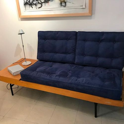 Pierre Guariche: Day and night bench  Wood/ metal legs  Circa 1955  W 191 / W 81…