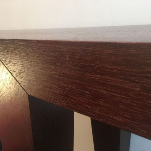 """Philippe Hurel: Console """"Maissai""""  Oak stained  Circa 1990, signed  154 x W40 H:…"""