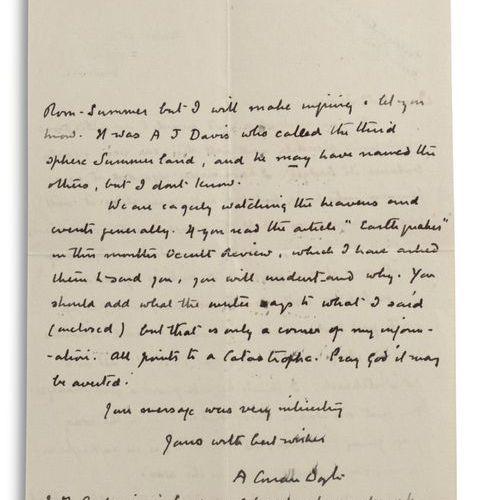 DOYLE ARTHUR CONAN (1859 1930). L.A.S. « A. Conan Doyle », Bignell Wood, Minstea…
