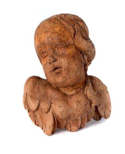 Tête de chérubin en bois sculpté formant applique Tête de chérubin en bois sculp…