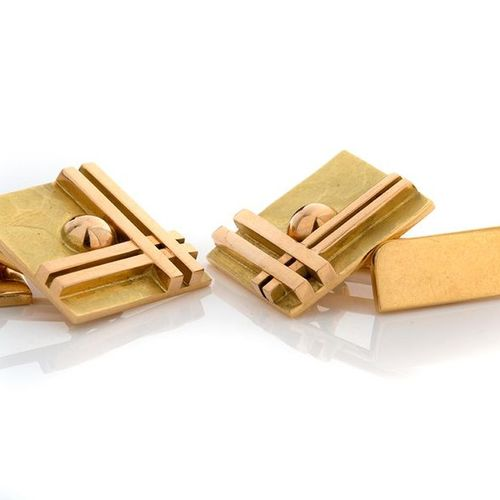 """Jean Després Pair of square cufflinks """"geometrical shapes"""", 18K (750) hammered y…"""