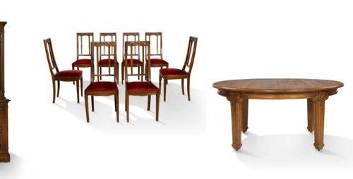 Louis MAJORELLE (1859 1926) Salle à manger dit vigne 1 bibliothèque, 1 buffet, 1…