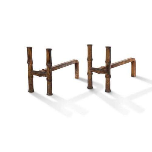 TRAVAIL FRANÇAIS Paire de chenets dits Bambou Fer 23 x 38 cm. Circa 1960