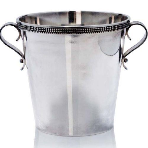 Jean DESPRES (1889 1980) Champagne bucket Silver plated metal H. 20 cm Circa 196…