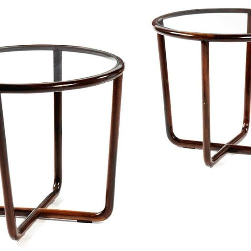 JOAQUIM TENREIRO (1906 1992) Pair of side tables in rosewood and glass 20 7/8 x …