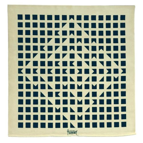 Jean Pierre YVARAL (1934 2002) BLACK COMPOSITION Tufted wool tapestry with beige…