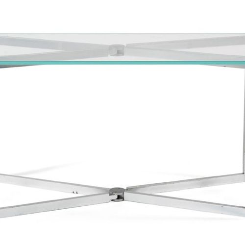 MICHEL BOYER (1935 2011) CONSOLE TABLE Glass top resting on a folding aluminium …