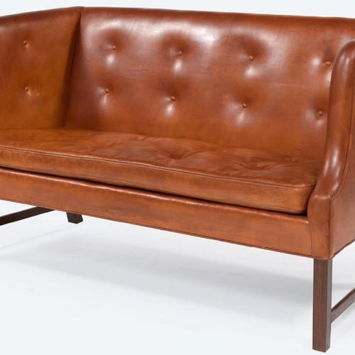 Ole Wanscher (1903 1985) SMALL RIGHT HIGH BACK SOFA Walnut frame, seat and backr…