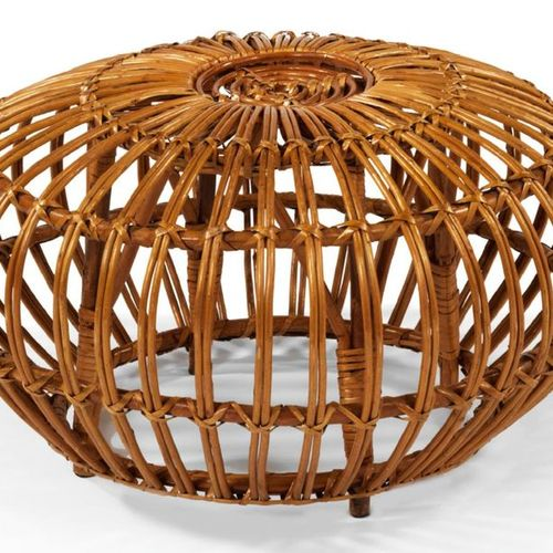 Ico PARISI (1916 1996) LARGE ROTARY TABOURET Spherical in shape, with a radiatin…