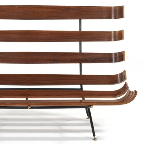 """MARTIN EISLER ET CARLO HAUNER COSTELA"""" SOFA Frame structure made of thick curved…"""