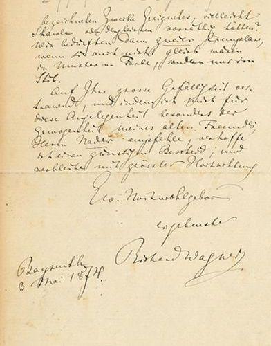 WAGNER RICHARD (1813 1883) L.A.S. « Richard Wagner », Bayreuth 3 mai 1874, à « H…