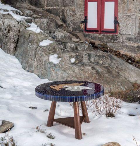 TRAVAIL SCANDINAVE Table Céramique, palissandre 53 x 75 cm. Circa 1940