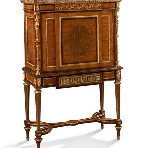 HENRY DASSON (1825 1896) Large secrétaire en placage de bois de rose, acajou, bo…