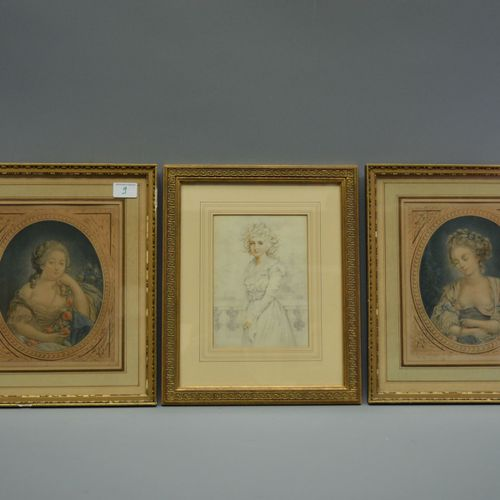 Series of 2 engravings and a drawing of ladies.