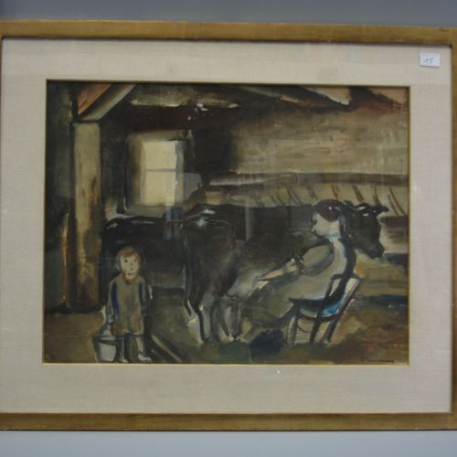 """Watercolour on paper, """"the milking"""", signed lower right, J.Timmermans."""