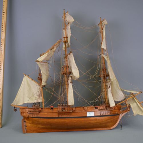 Wooden model ship.