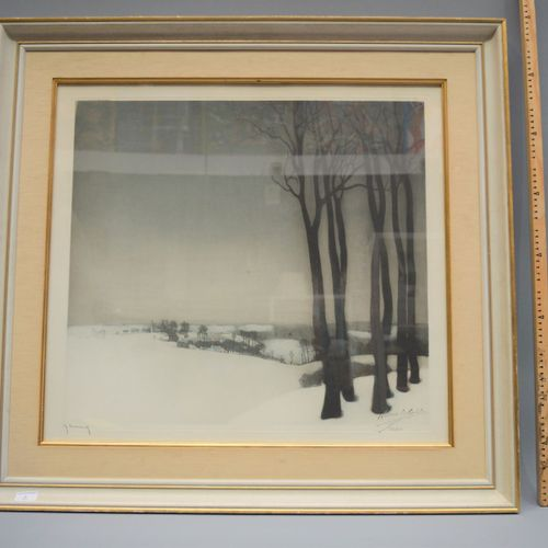 """Lithograph, """"snowy landscape"""", 226/250, signed."""