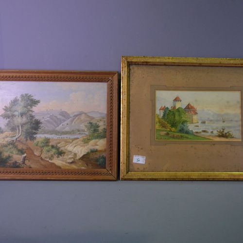 Watercolour, castle, signed Antoinette du Marais +HSP, landscape.