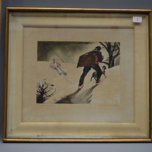 """Colour lithograph, """"l'appel du clocher"""", 37/100, signed Maurice Langaskens."""