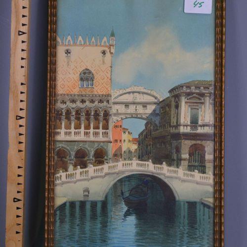 Watercolour, the canals of Venice, signed J.Veruen.