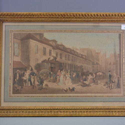 "Engraving, ""life in the village"", signed E.Massard."
