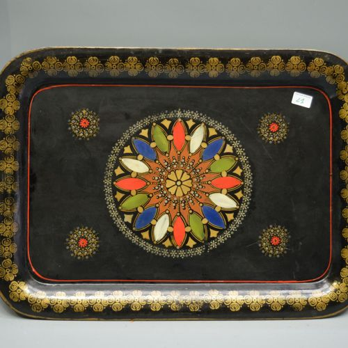 Tray in painted sheet metal decorated with coloured motifs, Napoleon 3.