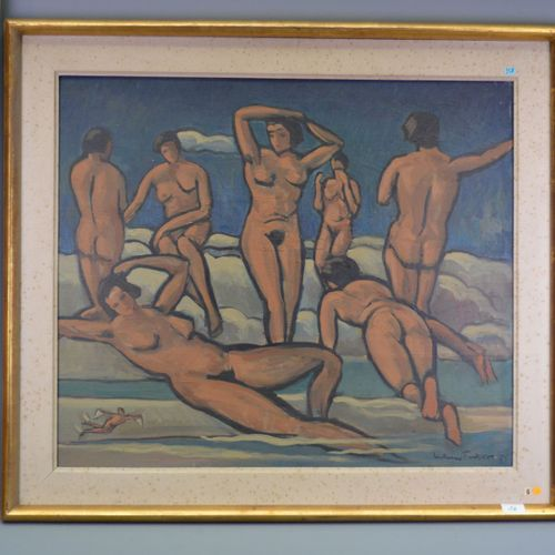 "HST, ""naked women"", signed lower right, illegible."