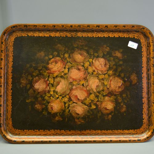 Painted wooden tray with flower decoration, Napoleon 3.