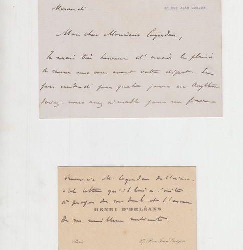 ORLÉANS (Henri d'). 4 lettres et cartes autographes au diplomate Georges Cogorda…