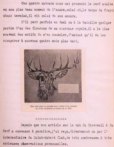 MAROLLES (Gaston de). Sur le rut du cerf… [Tapuscrit]. Vers 1942. In 4, 18,6 x 2…