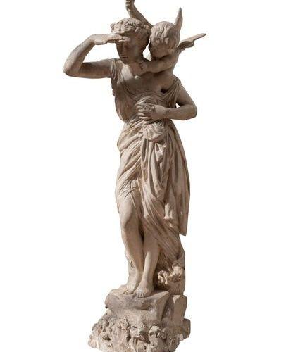 Maximilien Louis Bourgeois ( 1839 1901 paris ) Femme drapée et Eros. Sculpture d…