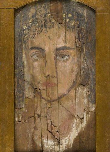 Portrait de femme du Fayoum. Égypte, époque romaine. 33,5 x 17 cm Provenance : …