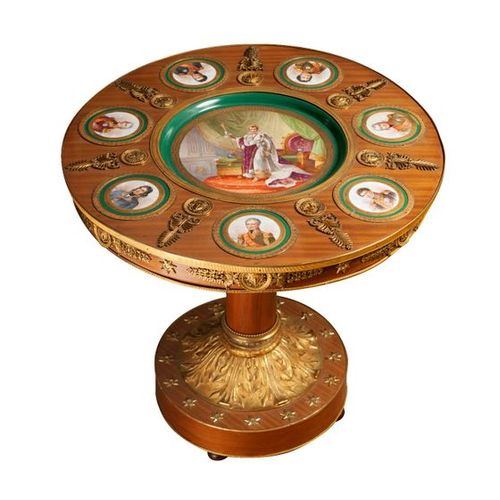 "Round pedestal table called ""Guéridon aux Maréchaux"" in satin veneer resting on …"