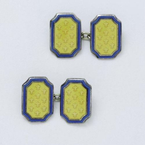 Pair of cufflinks in 800 thousandths vermeil, composed of octagonal pastilles de…