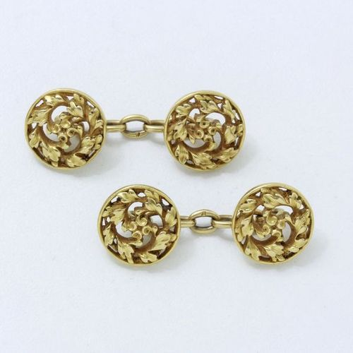 WIESE  Pair of 750 thousandths gold cufflinks, composed of round pastille with c…