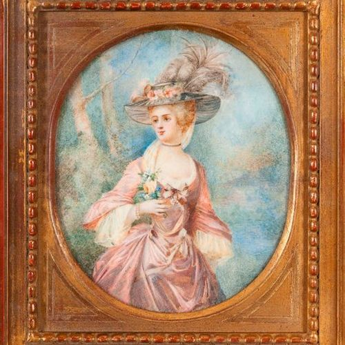 """19th century school in the manner of the miniature """"Woman with a hat"""" torn gouac…"""