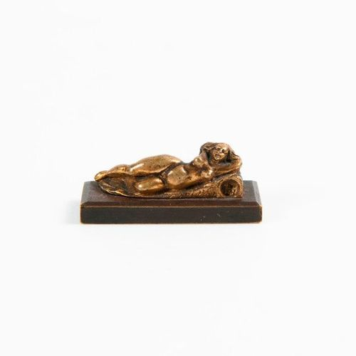 Edouard Pierre FREMY 1829 1888. Extended nude. Miniature gilt bronze proof on a …