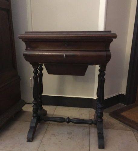 Mahogany veneer work table, Louis Philippe period
