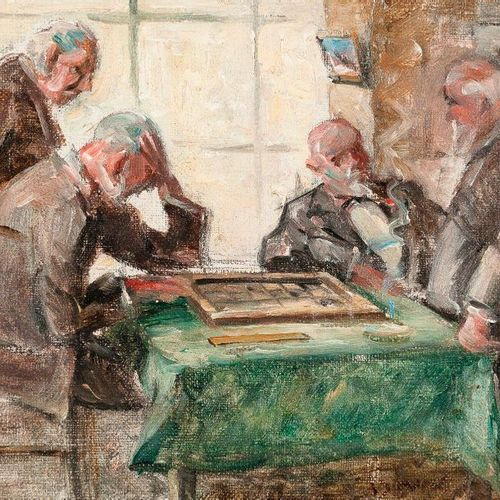 Camille BOURGET XIX/XX: The checkers players. Oil on canvas signed lower right. …