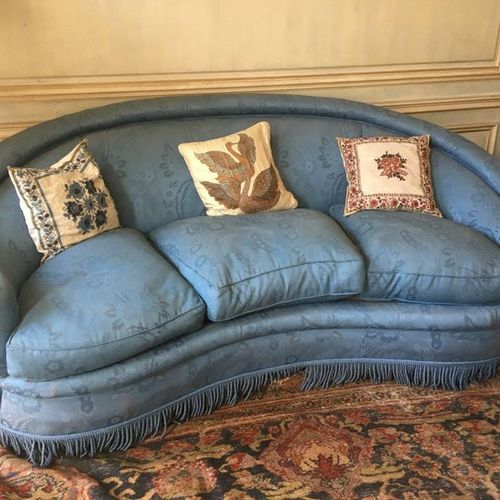 Pair of basket sofa, blue fabric upholstery with flower decoration (as is), thre…