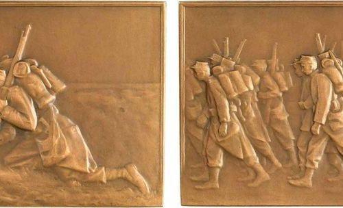 Roger Bloche (P.): Soldats, 1906 Paris, SAMF N° 158  On a battlefield, soldier (…