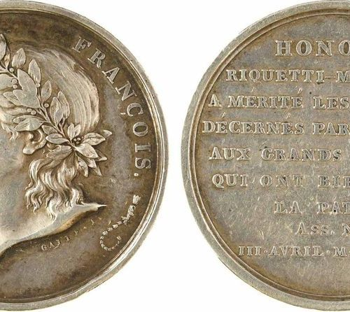 Constitution, essay in tribute to Mirabeau, silver, 1791 Paris  A/ LE DEMOSTHENE…