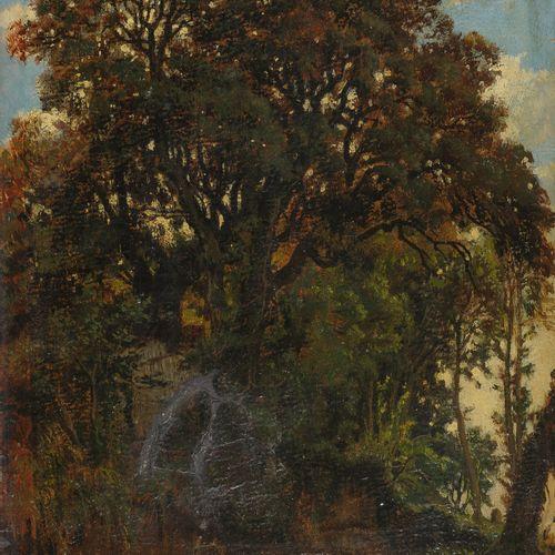 Félix Hippolyte LANOÜE (Versailles 1812 – 1872)  Vue d'un bois à Frascati  Toile…