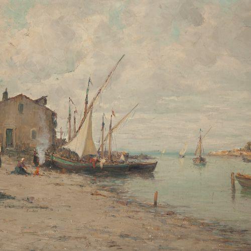Auguste BERTHON (1858 1917)  Village portuaire  Huile sur toile en bas à gauche.…