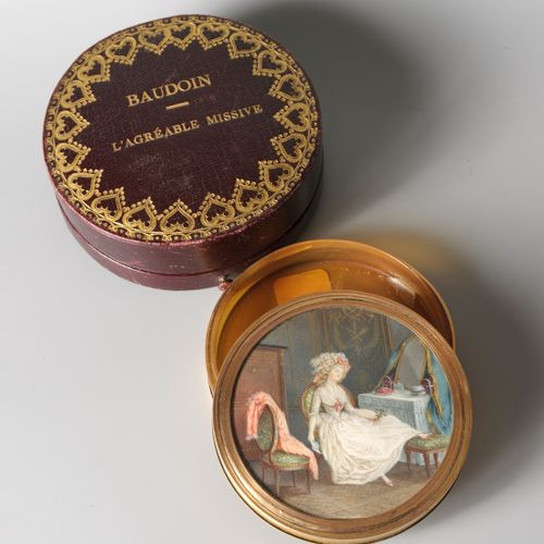 Attribué à Pierre ANTOINE BAUDOIN (1723 1769)  L'agréable missive  Elle figure, …