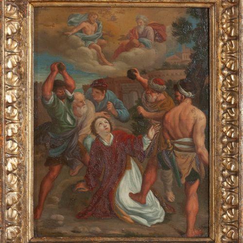 Ecole Italienne du XVIIe siècle  suiveur du Dominiquin  Lapidation de Saint Etie…
