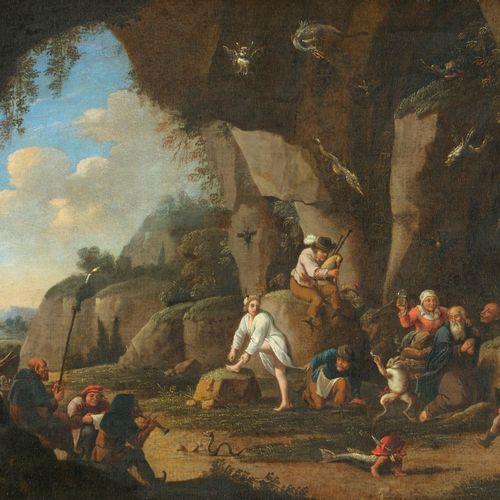 Ecole HOLLANDAISE du XVIIe siécle  suiveur de SAFTLEVEN  La tentation par les se…