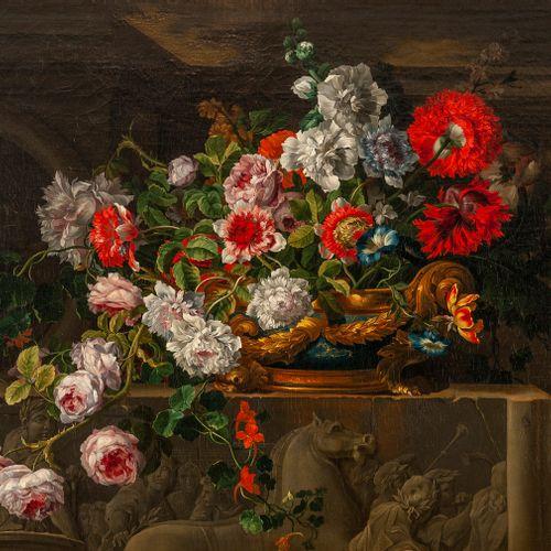 Jean – Baptiste MONNOYER  (Lille 1636 – Londres 1699)  Un vase en lapis monté en…