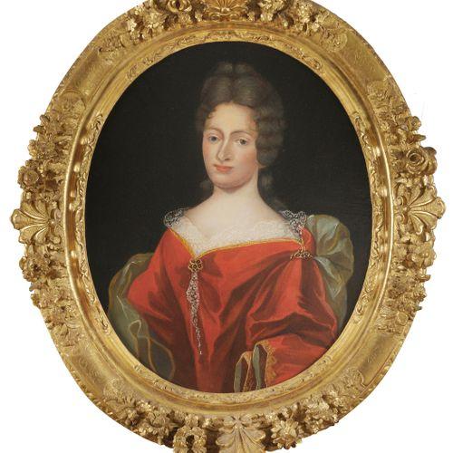 RICHER  (Actif à la fin du XVIIème siècle)  Portrait d'homme en habit rouge  Por…